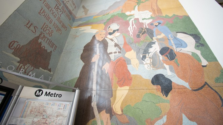 The murals, located by the Santa Monica City Hall entrance, show two Native Americans kneeling by a spring, the city's first source of water, while a Catholic monk and a Spanish…