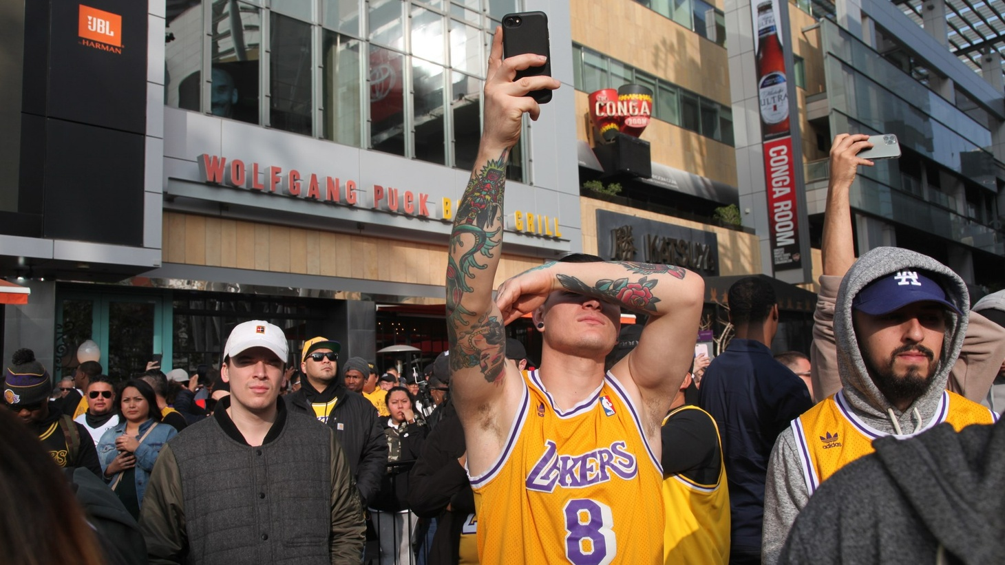 Angelenos wore Lakers jerseys to pay tribute to Kobe Bryant at his vigil in January.