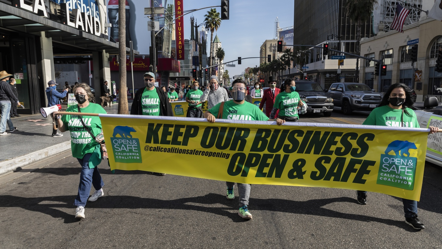 Business owners and employees from the California Coalition for Safe Reopening hold a protest against business closure orders. The small business owners — mostly from the food, beverage, and entertainment industries — feel they are being unfairly targeted for closures as government officials are concerned about the spread of coronavirus. Photo taken October 12, 2020 in Hollywood, CA, USA.