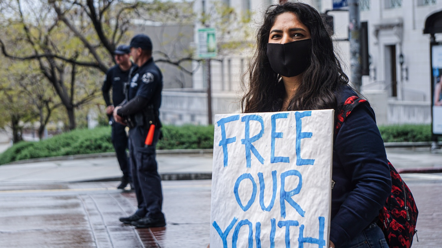 Protester advocating for jailed youth.