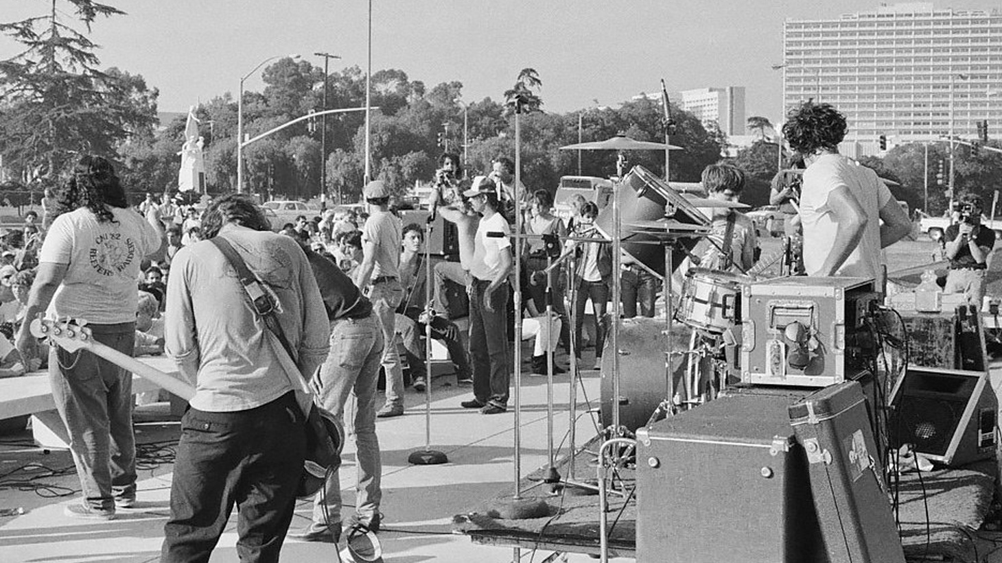 Black Flag performing at the Federal Building in Westwood in the 1980s.