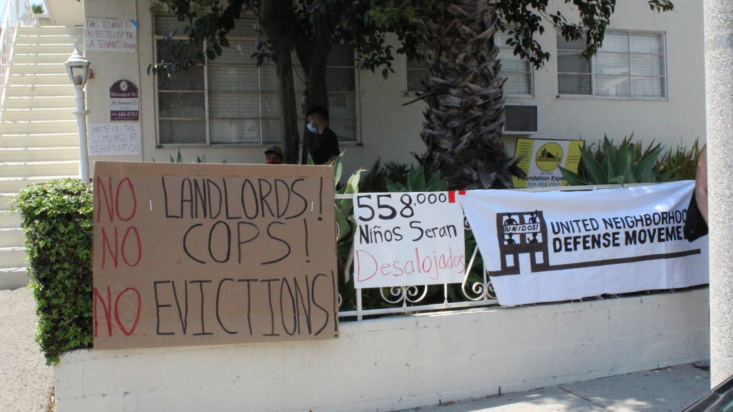 Activists from the LA Tenants Union have gathered in Hollywood to prevent one of those evictions from being carried out.