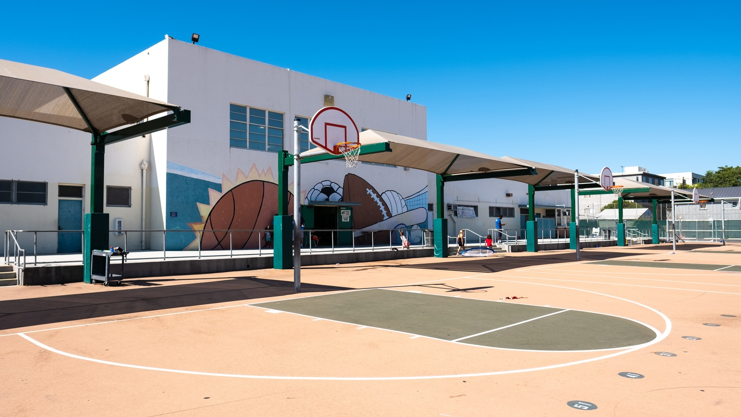 Gymnasium and basketball courts at Palms Middle School, Los Angeles.
