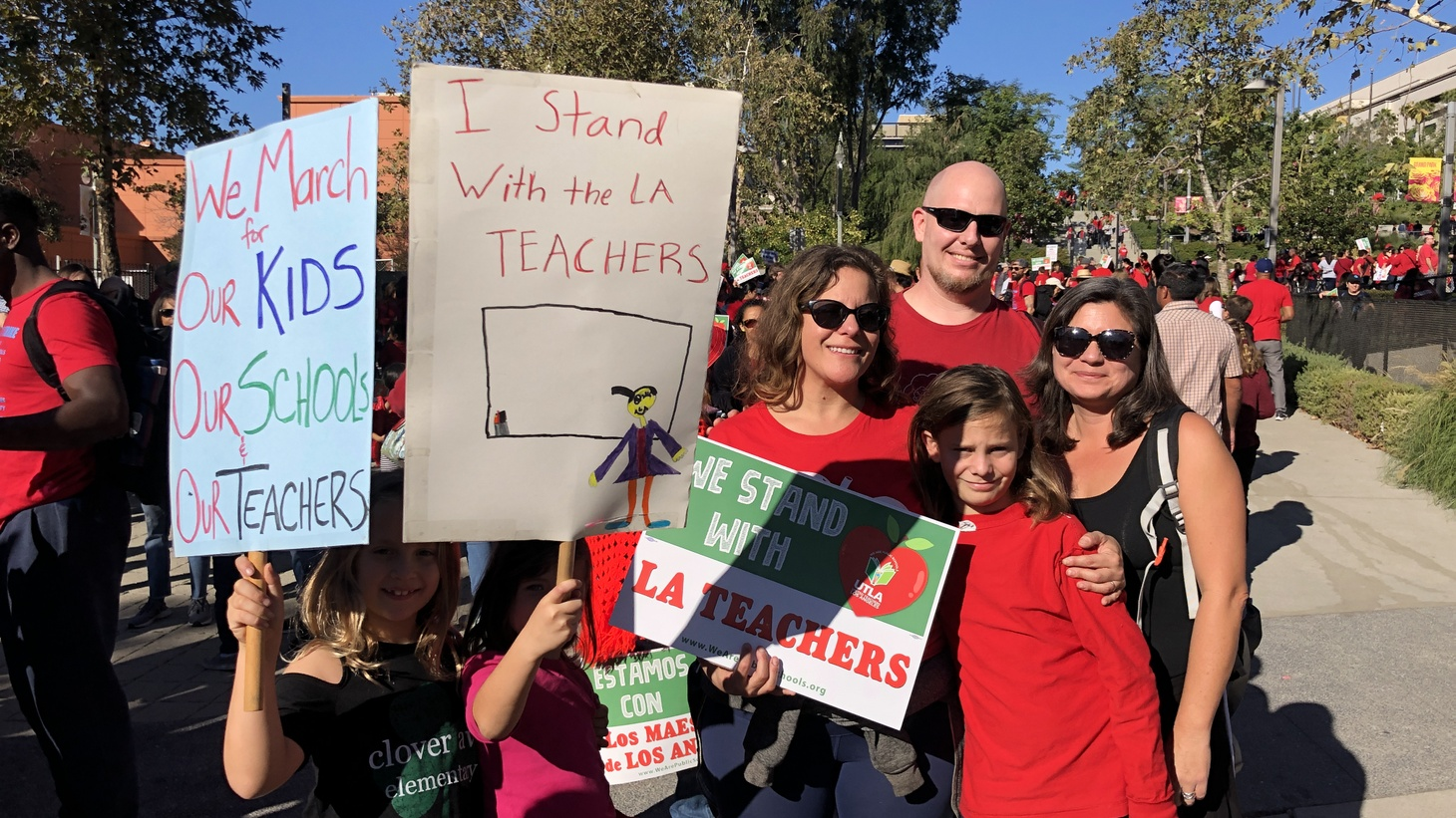 "Parents and students at Clover Avenue Elementary march in support of the LAUSD teachers and to shed light on the ""Charter issue we have here in LA."""