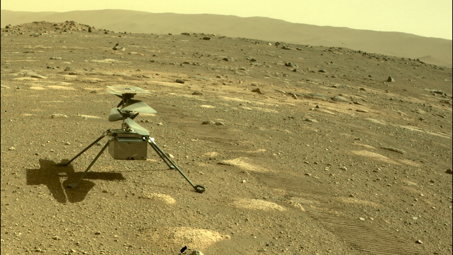 NASA's Ingenuity helicopter is seen on Mars, as viewed by the Perseverance rover, on April 4, 2021.