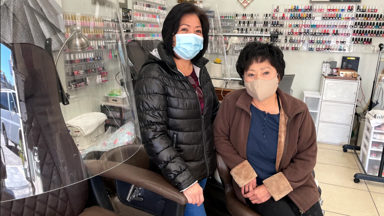 Sandy Lam (left) and her cousin Mai Lam say they have invested thousands of dollars to get their salon ready to reopen in Sherman Oaks.