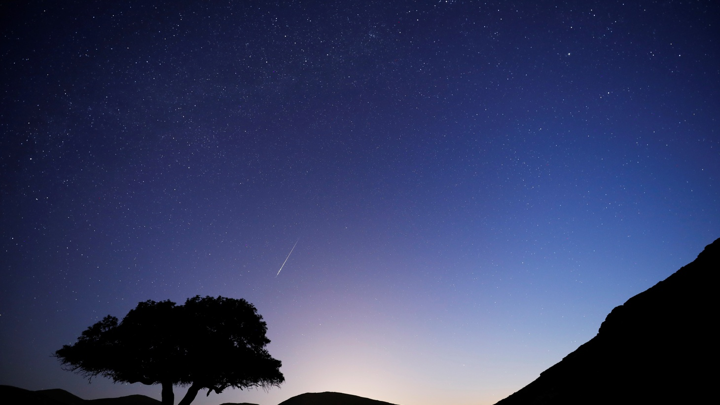A meteor streaks across the sky in the early morning during the annual Perseid meteor shower near the town of Mitzpe Ramon, southern Israel, August 13, 2019. This year's shower is expected to peak tonight.