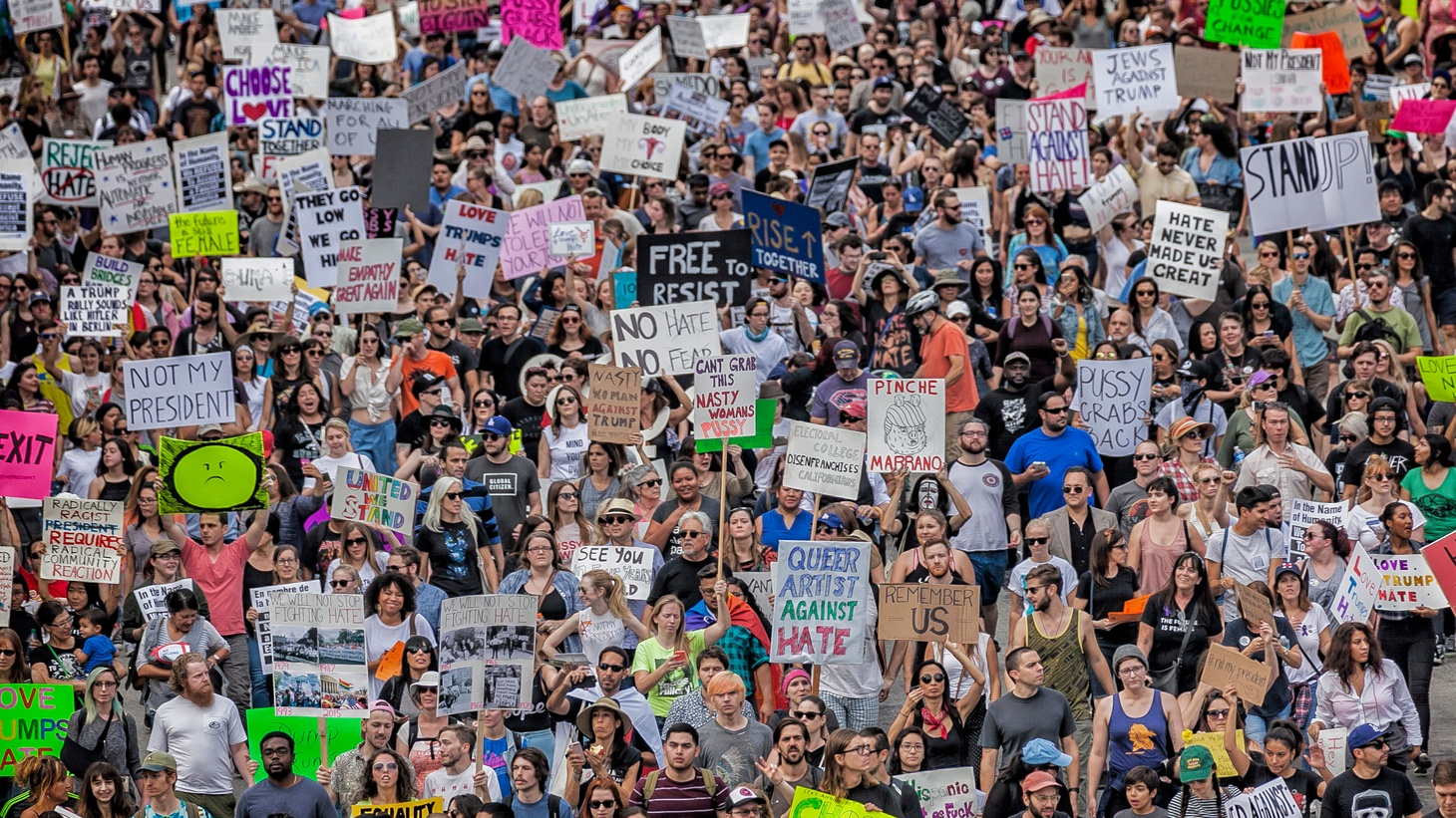 Thousands of people marched in downtown Los Angeles to protest the election of Donald Trump as president. Hillary Clinton won the state of California but lost the overall General Election. November 12, 2016, downtown LA, CA.