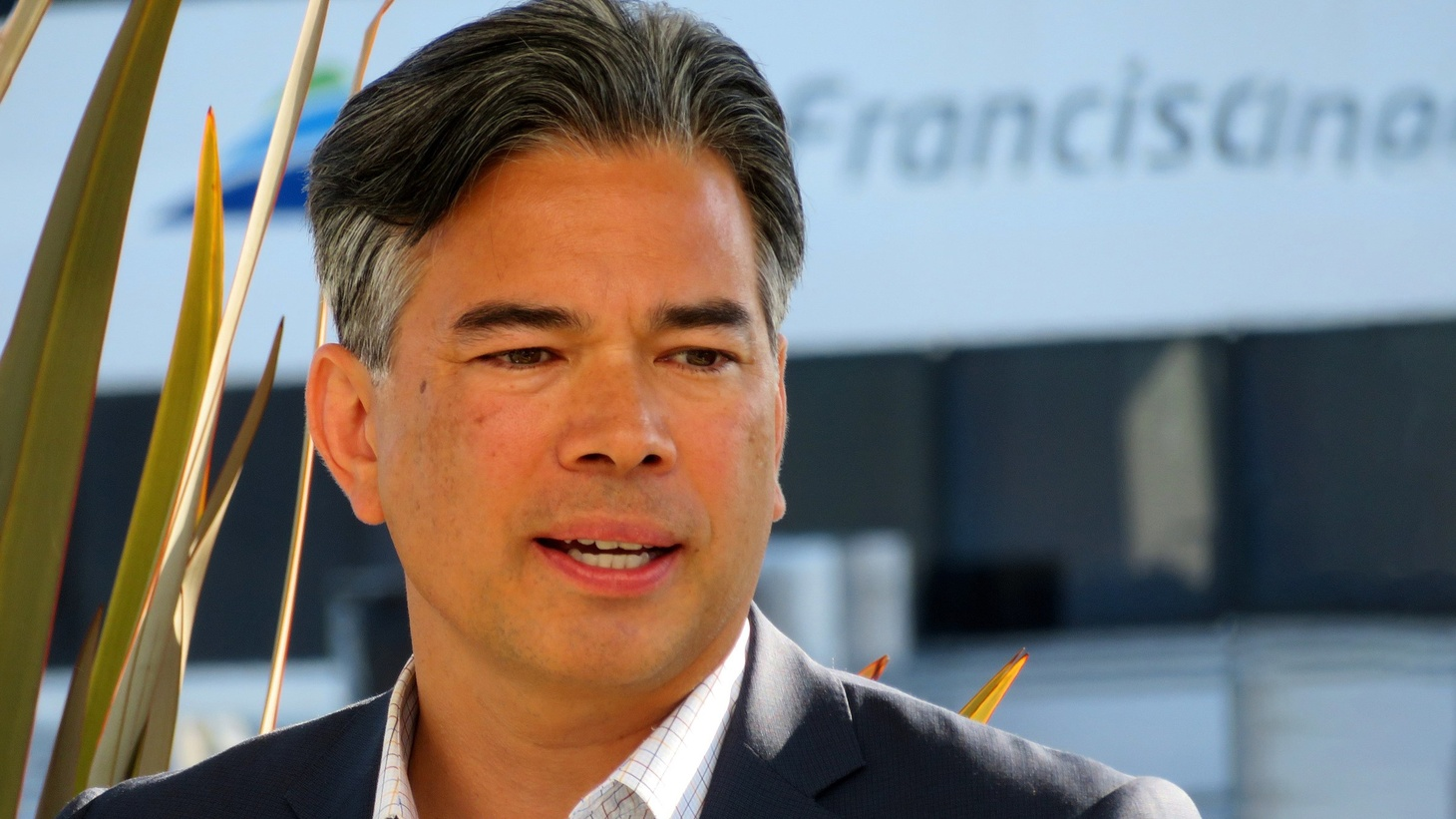California State Assembly member Rob Bonta speaking at the Central Bay Operations and Maintenance Facility ribbon-cutting ceremony in December 2018