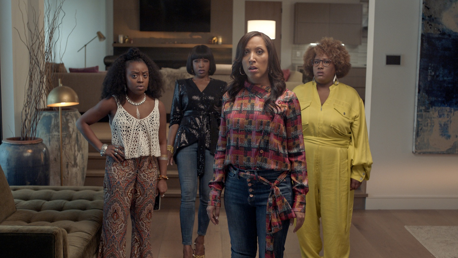 "Quinta Brunson, Gabrielle Dennis, Robin Thede and Ashley Nicole Black are stuck together during ""The Event"""