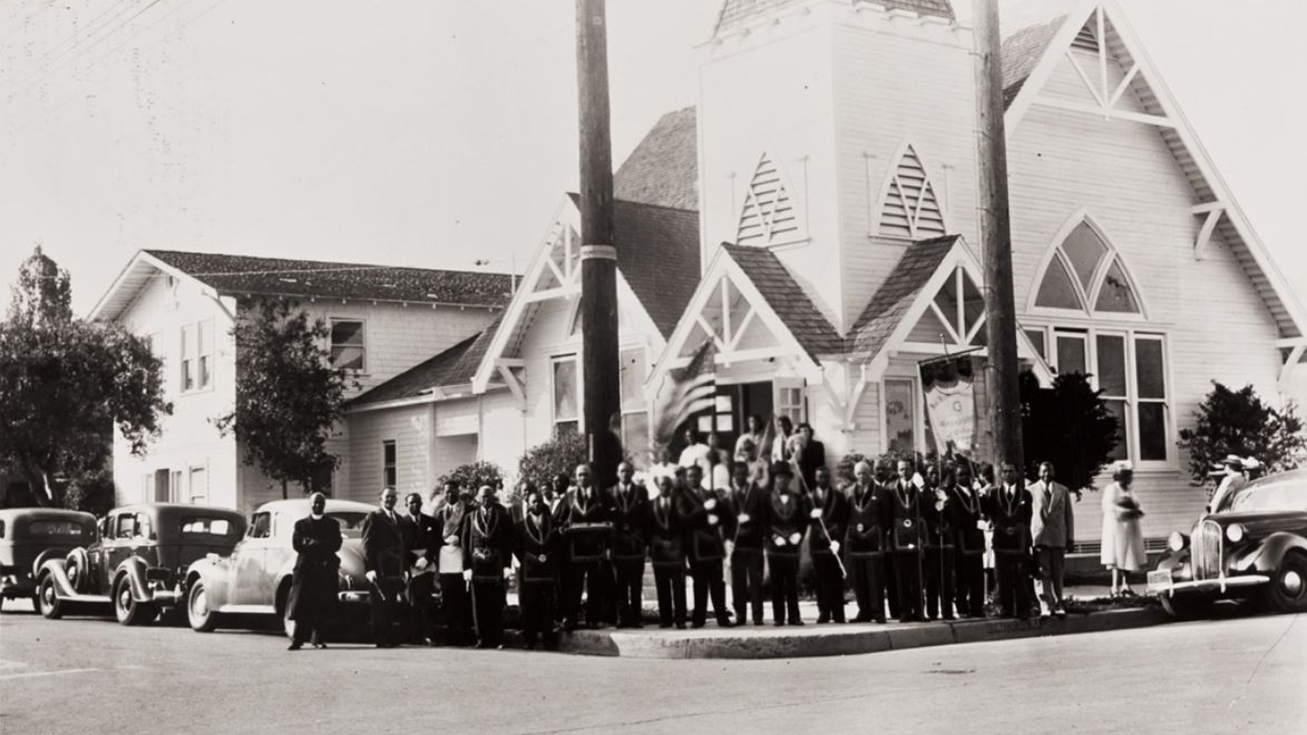Group portrait outside the St. Paul A.M.E. Church, on the corner of Olive and Haley Street in Santa Barbara.