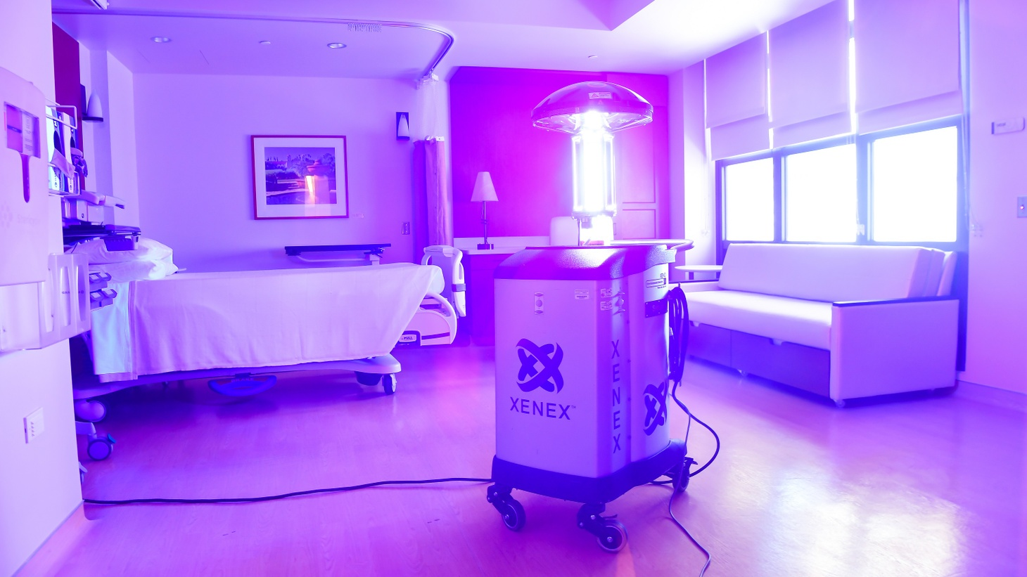 A Xenex robot uses high-intensity UV light to kill germs at Cottage Hospital.