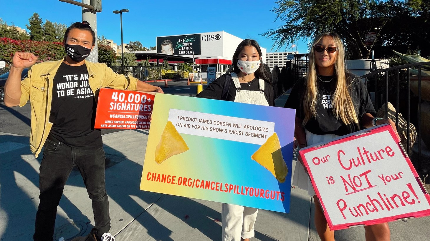 Kim Saira (M) leads a protest in front of CBS Television City, demanding the host of The Late Late Show, James Corden, apologize for negatively portraying Asian food.