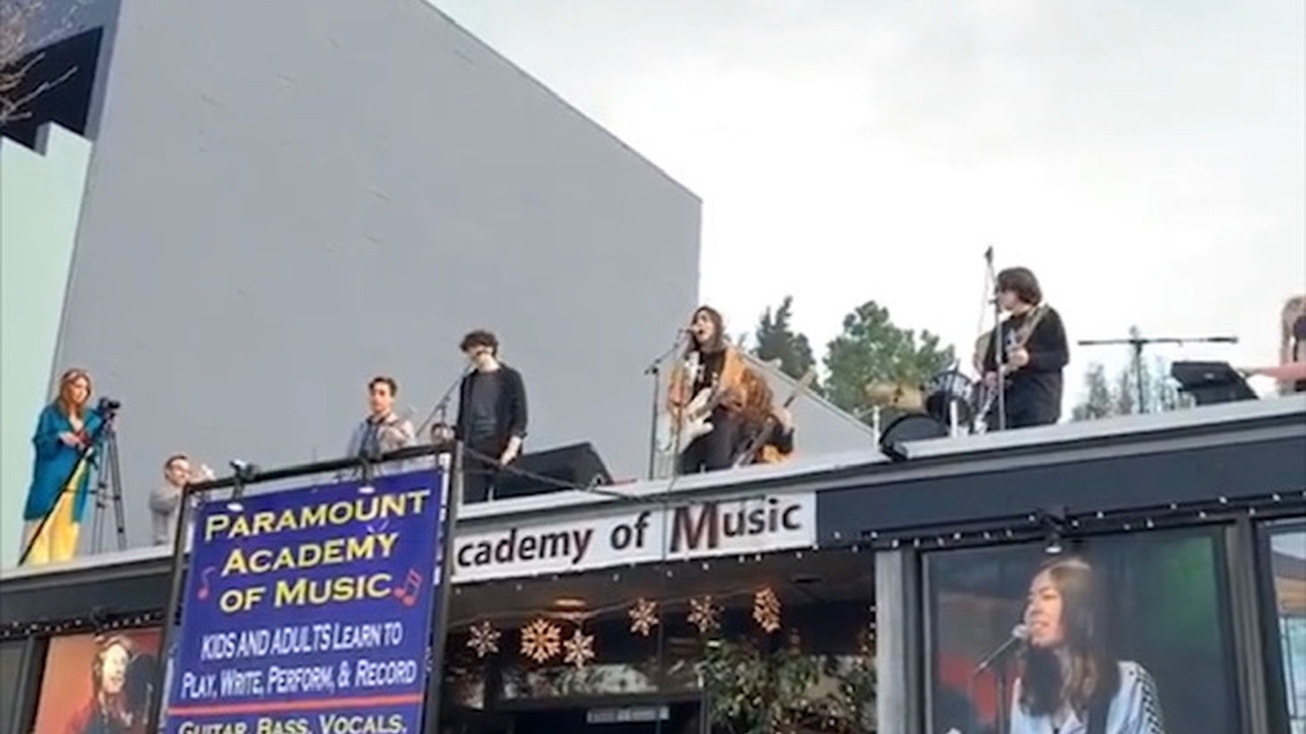 Students playing on the roof.