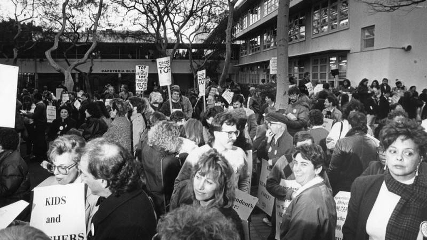 Teachers gather at LAUSD headquarters in preparation for a demonstration march. January 11, 1989.