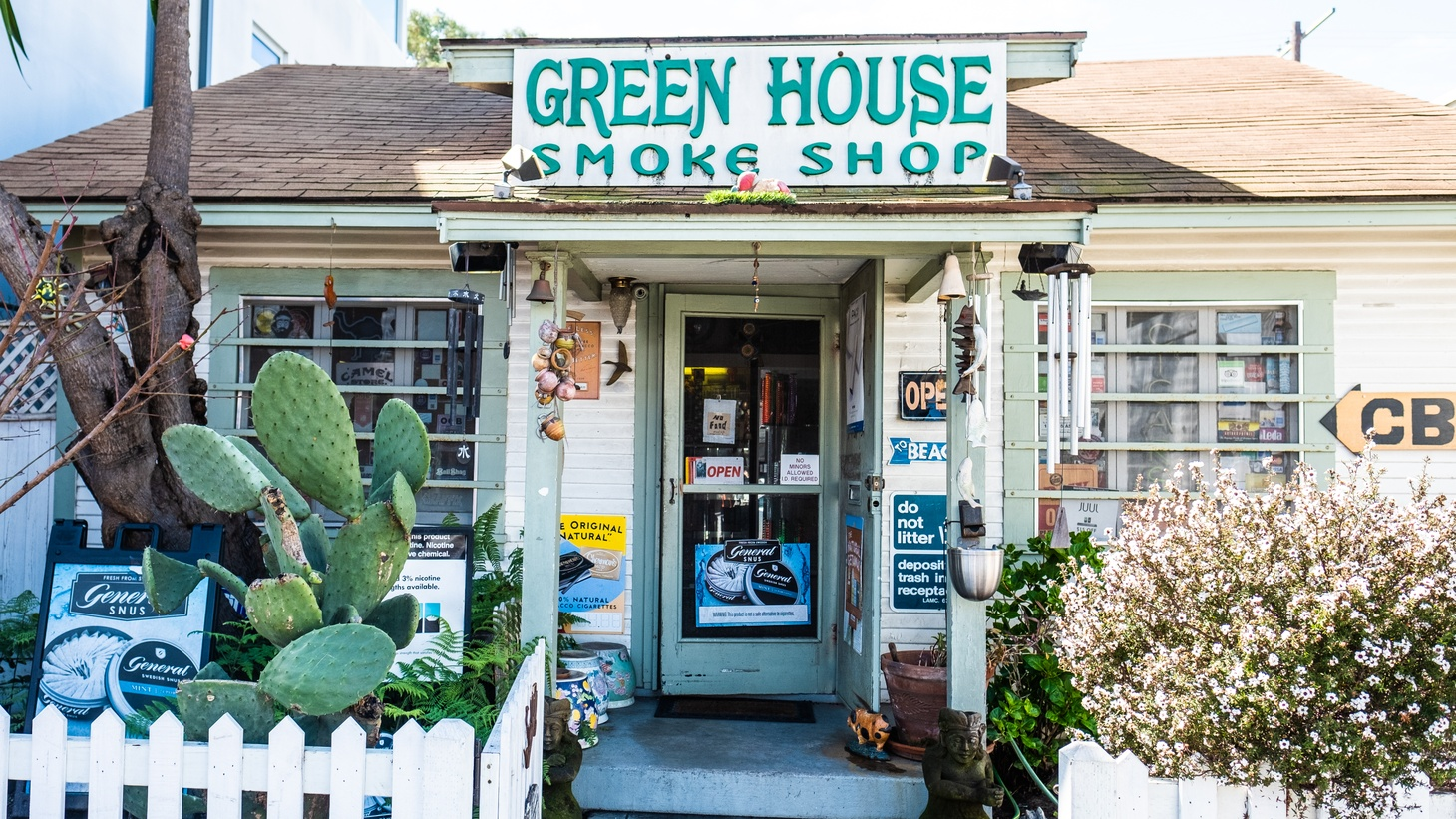 """The Green Smoke House on Abbot Kinney Boulevard in Venice, California, carries cannabis products. """"The fact that cannabis got deemed essential in March, and stores could remain open, and the supply chain can continue to process cannabis was a watershed moment for the marijuana rights movement,"""" says David Downs, the California bureau chief for Leafly."""