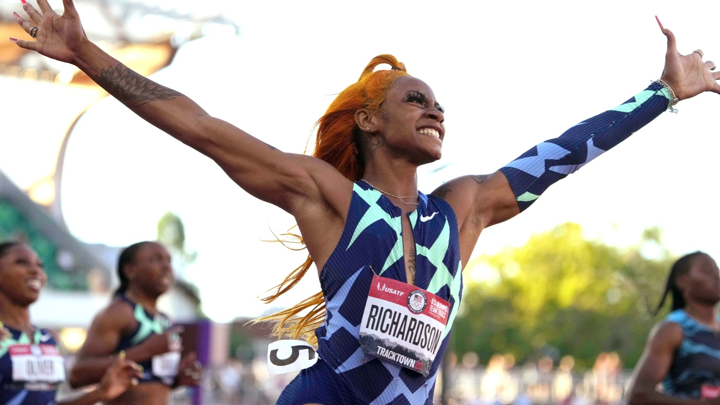 Sha'Carri Richardson celebrates after winning the women's 100m in 10.86 during the U.S. Olympic Team Trials at Hayward Field. Jun 19, 2021, Eugene, OR, USA.
