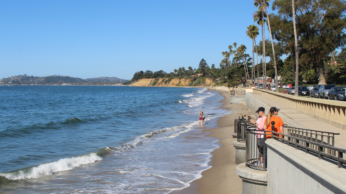Butterfly Beach in Montecito is backed by a seawall to the east and a bluff to the west, making it particularly vulnerable to sea level rise.