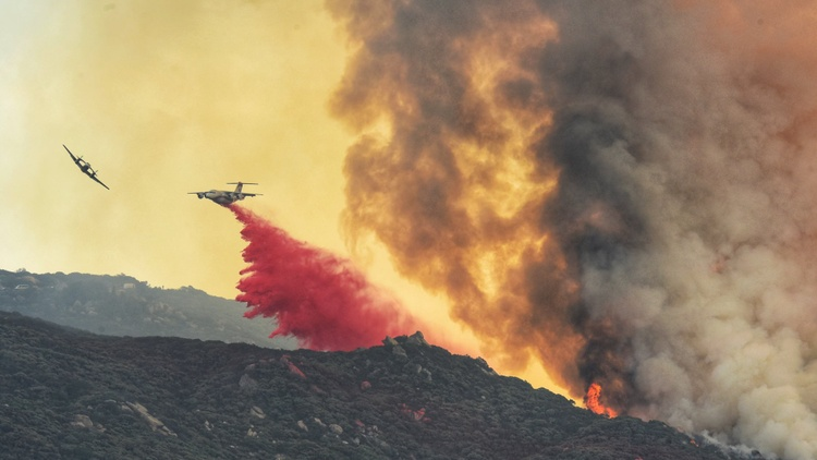 The Cave Fire continues to burn in the mountains above Santa Barbara.