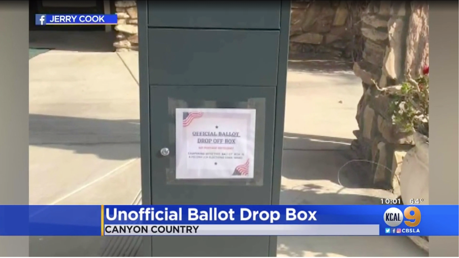 "Unofficial ballot boxes will not have the large print that indicates ""Official Ballot Drop Box."" They look like this grey metal drop box seen outside of a Freedom's Way Baptist Church in Canyon Country."
