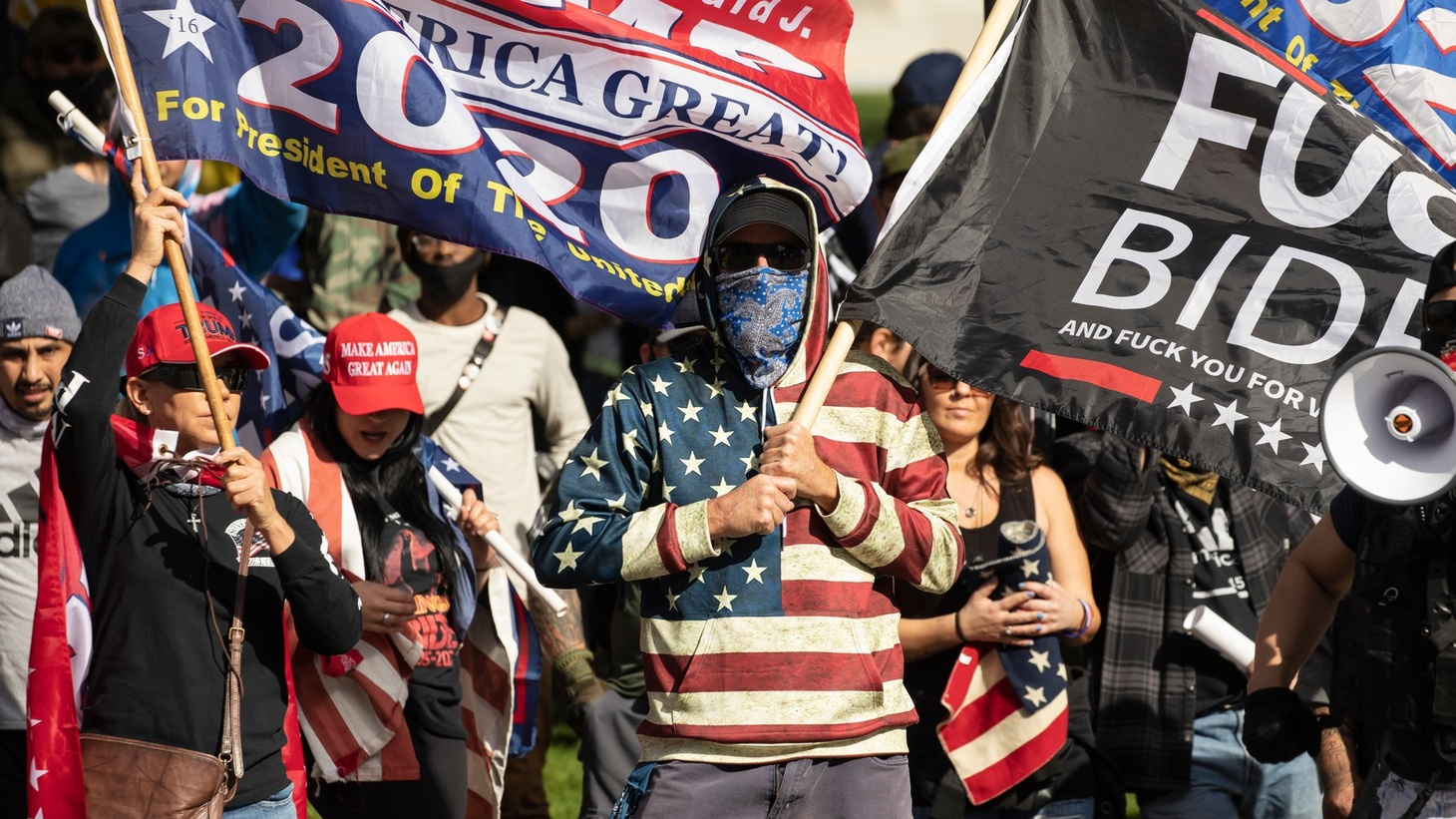 Trump supporters gathered in downtown Los Angeles to protest the certification of President-elect Joe Biden, January 6, 2021.