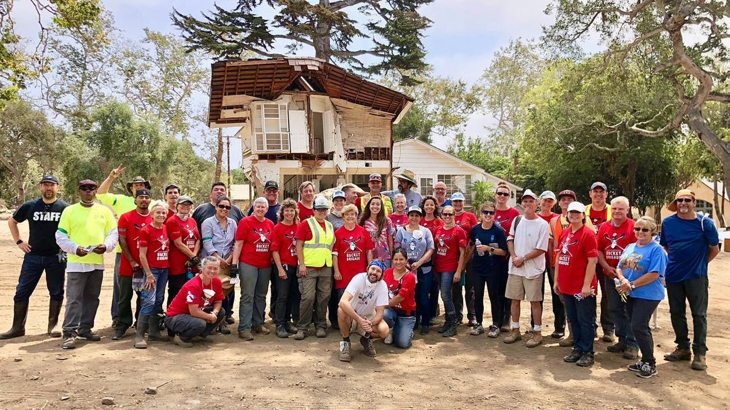 Volunteers in Montecito after the 2018 debris flow.