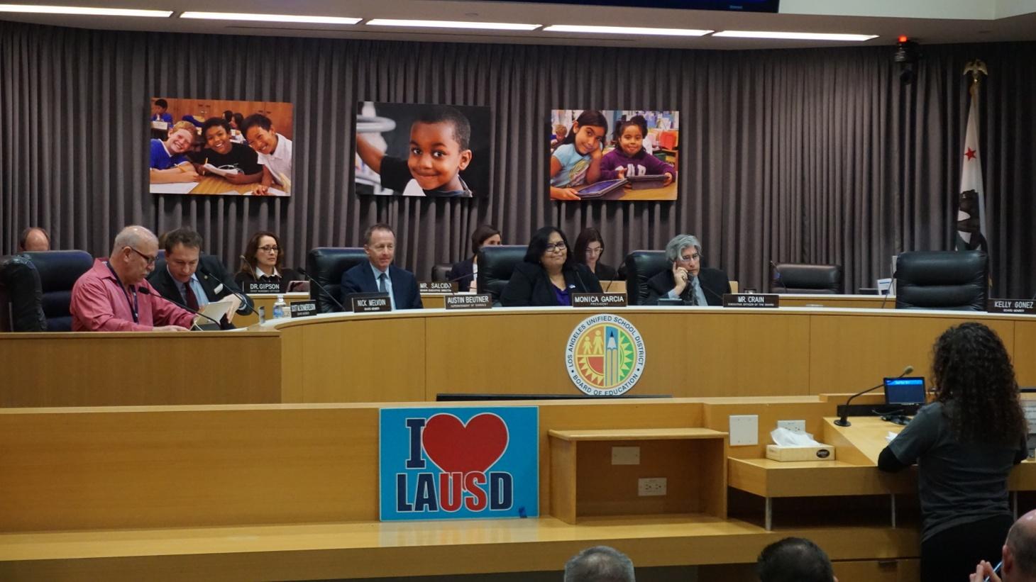 An LAUSD board meeting in December.