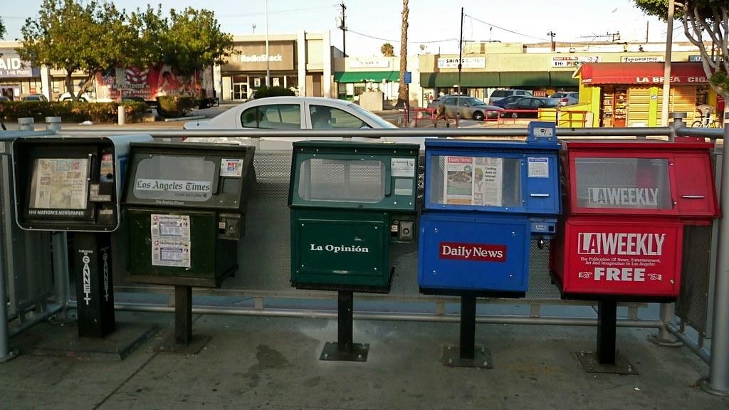 A newspaper stand.
