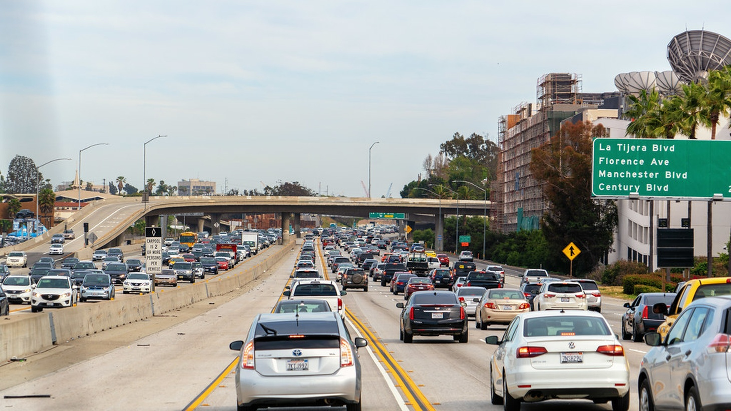 Los Angeles traffic on the 405 freeway