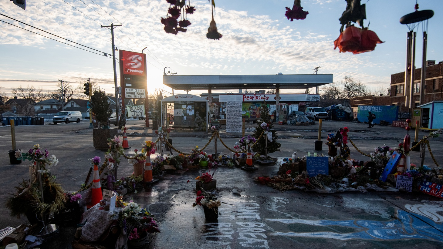 """The """"People's Way"""" at George Floyd Square, the site where George Floyd was killed, is seen in the days leading up to the trial of former police Derek Chauvin, who is facing murder charges in his death, in Minneapolis, Minnesota, U.S., March 4, 2021. Picture taken March 4, 2021."""