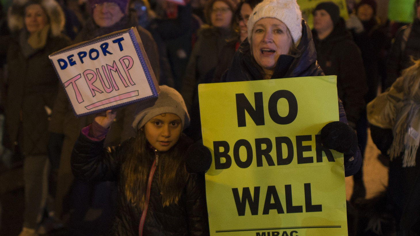 About 300 people met in south Minneapolis to march in protest against the proposed policies of Donald Trump.