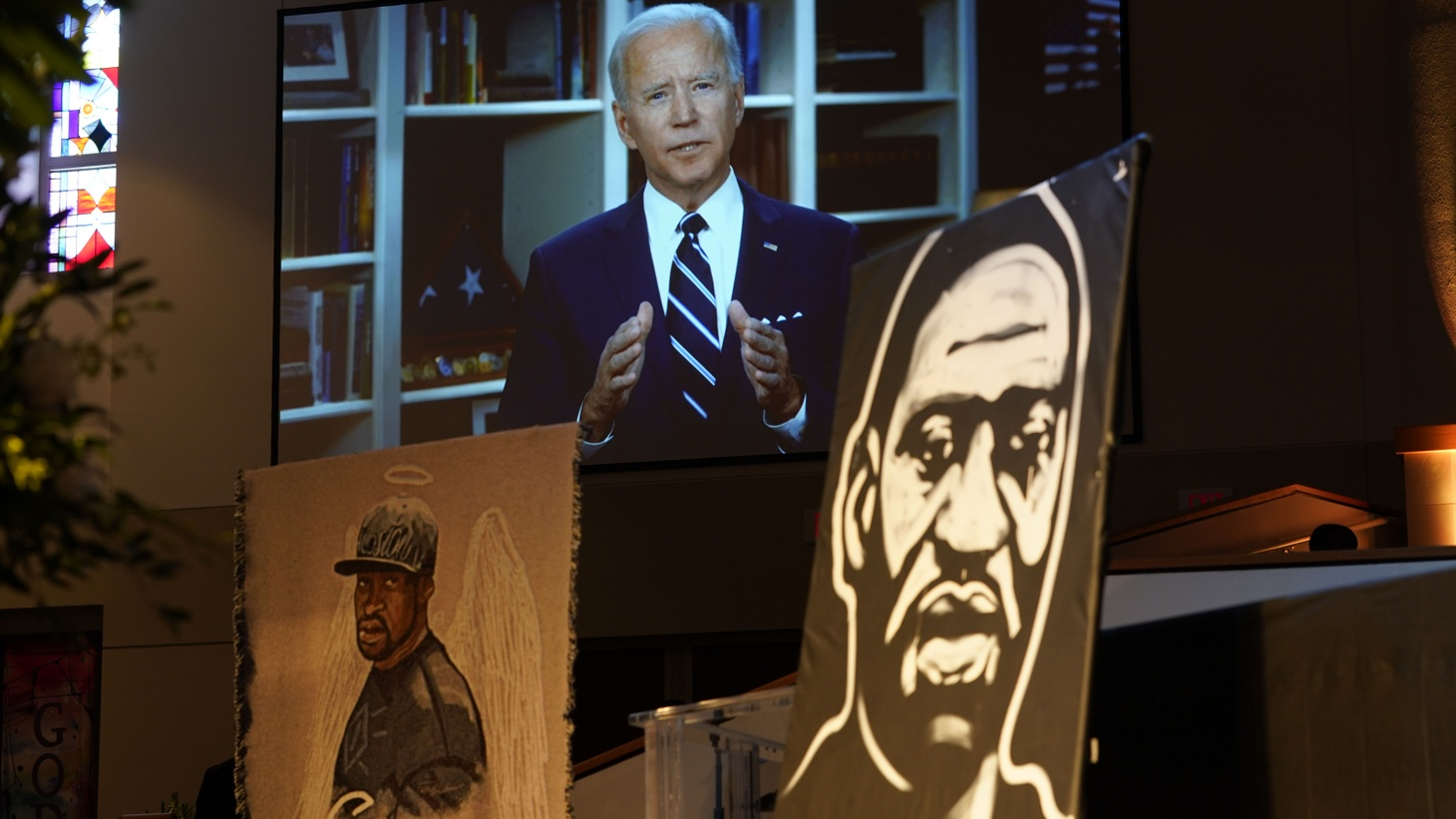 June 9, 2020, Houston, TX, USA; Democratic presidential candidate, former Vice President Joe Biden speaks via video link as family and guests attend the funeral service for George Floyd at The Fountain of Praise church Tuesday, June 9, 2020, in Houston.