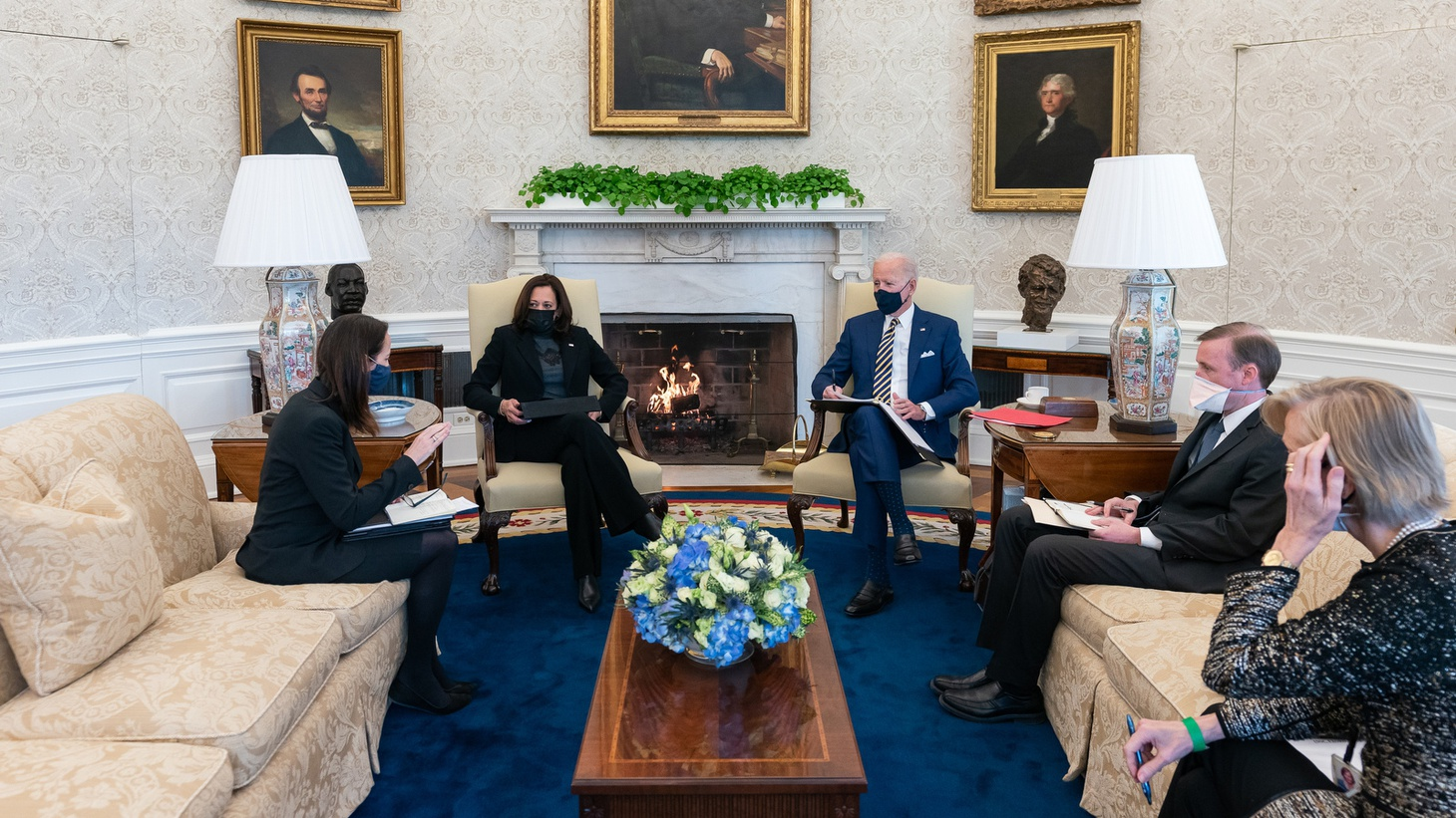 President Joe Biden and Vice President Kamala Harris receive a presidential daily briefing from the Director of National Intelligence Avril Haines, the Vice President's National Security Adviser Nancy McEldowney and National Security Adviser Jake Sullivan Friday, Jan. 22, 2021, in the Oval Office of the White House.