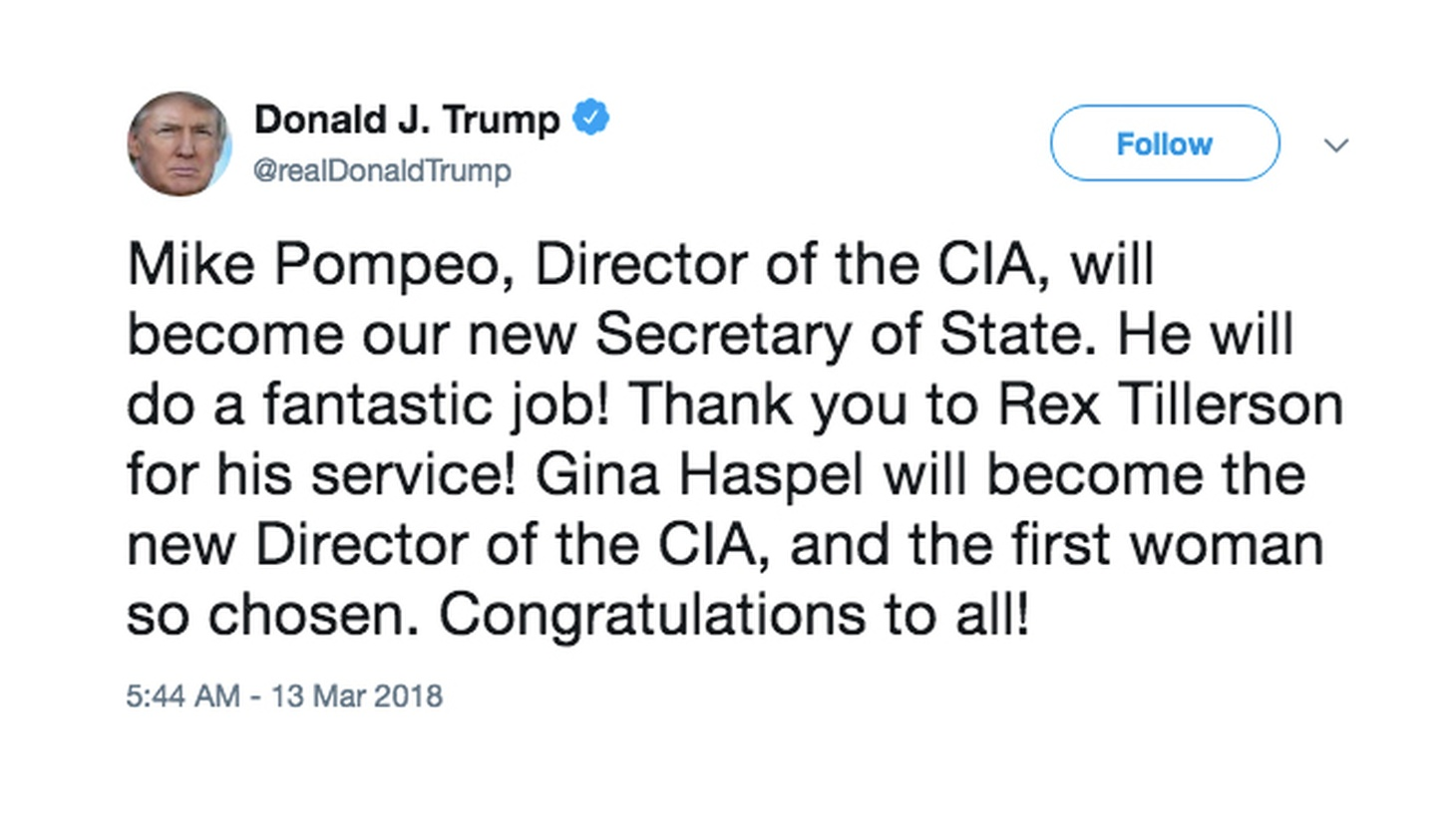 The president uses social media to tell his secretary of state it's over.