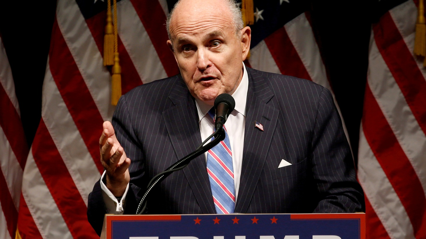 Rudy Giuliani delivers remarks before Donald Trump rallies with supporters in Council Bluffs, Iowa, U.S., September 28, 2016.