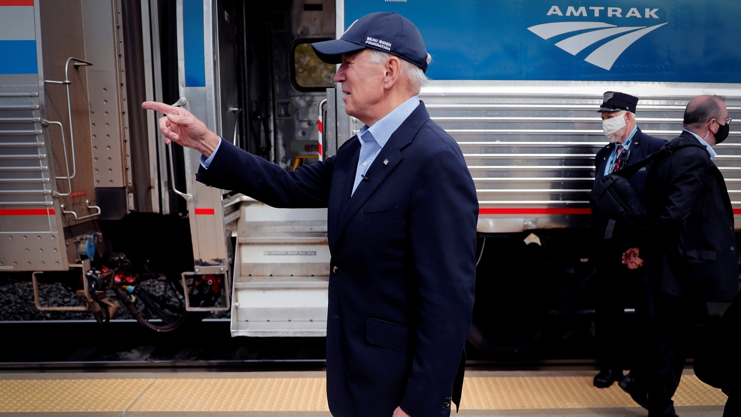 U.S. Democratic presidential candidate and former Vice President Joe Biden greets supporters after arriving on an Amtrak train for a campaign stop in Alliance, Ohio, U.S., September 30, 2020.