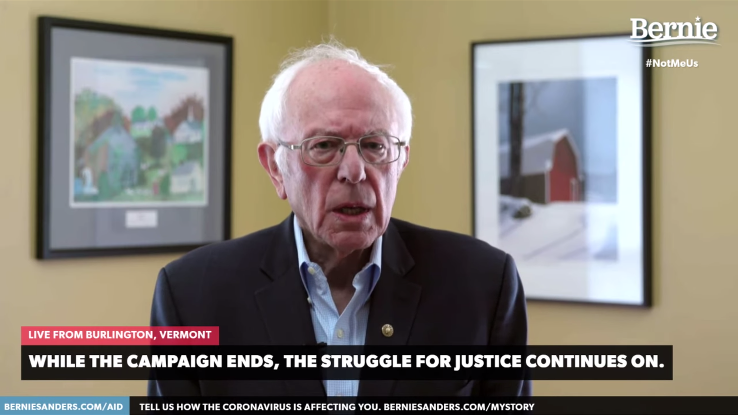 Bernie Sanders message following his announcement to suspend his campaign.