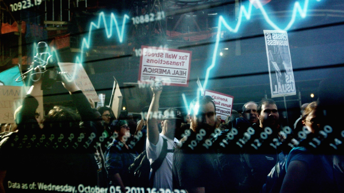 Employment stalls as Occupy Wall Street protests increase in intensity. Palin and Christie are out as Romney ramps up. Finally, we remember Apple founder Steve Jobs.