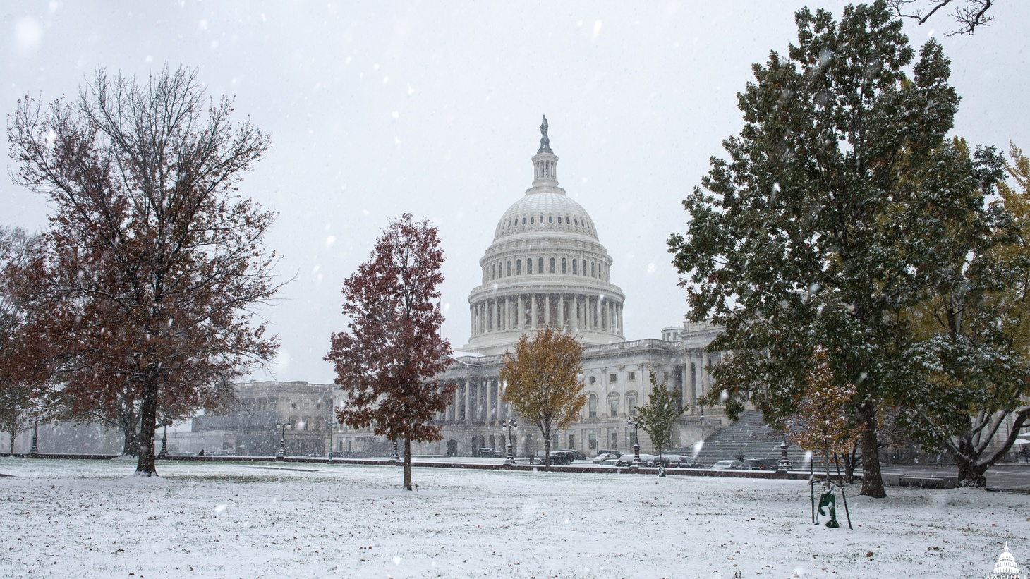 US Capitol covered in snow.