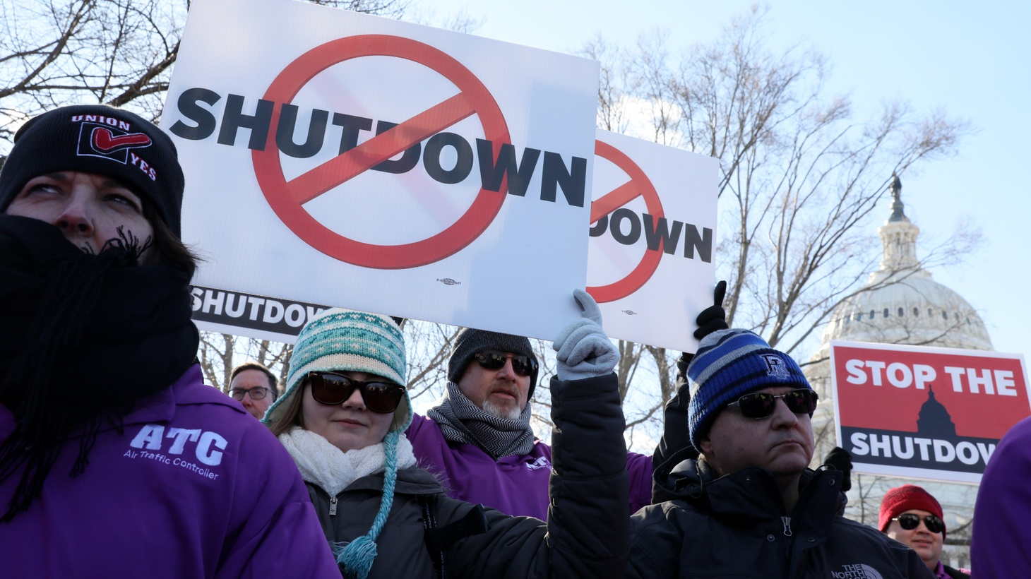Federal air traffic controller union members protest the partial U.S. federal government shutdown in a rally at the U.S. Capitol in Washington, U.S. January 10, 2019.