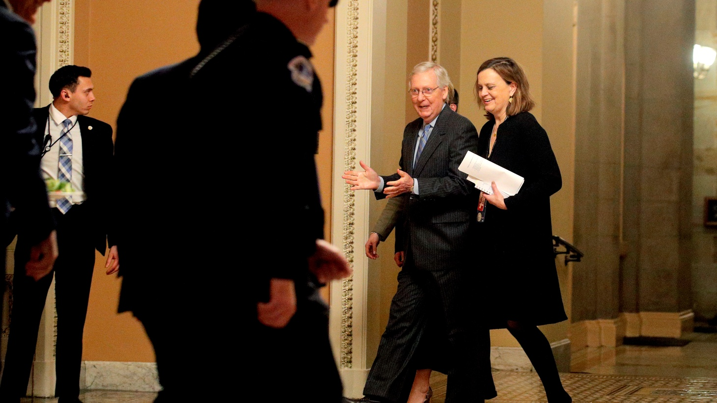 U.S. Senate Majority Leader Mitch McConnell (R-KY) walks during a break in the Senate impeachment trial of U.S. President Donald Trump at the U.S. Capitol in Washington, U.S., January 31, 2020.
