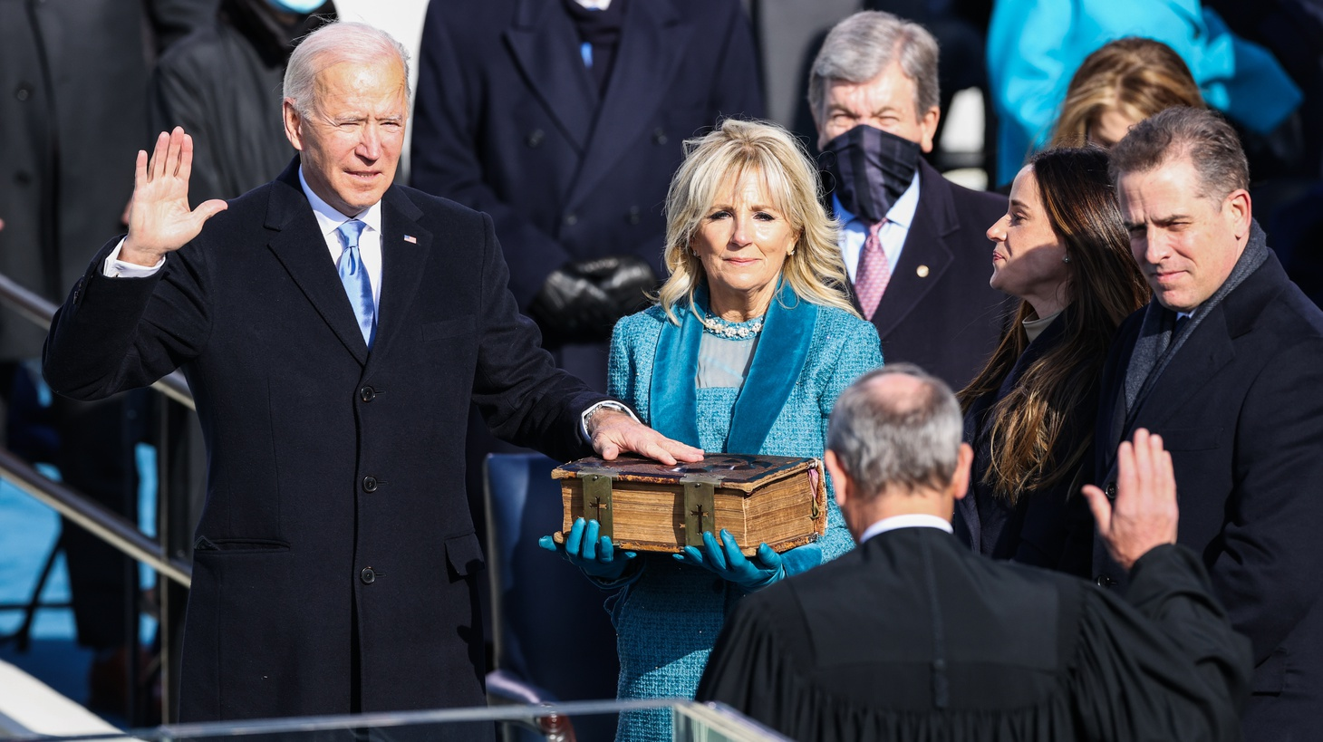 President-elect Joe Biden takes the Oath of Office to become the 46th president of the United States as he is sworn-in by Chief Justice of the United States John Roberts during the Inauguration Day ceremony held at the U.S. Capitol Building in Washington, D.C. on Jan. 20, 2021. President-elect Joe Biden becomes the 46th President of the United States at noon on Inauguration Day.