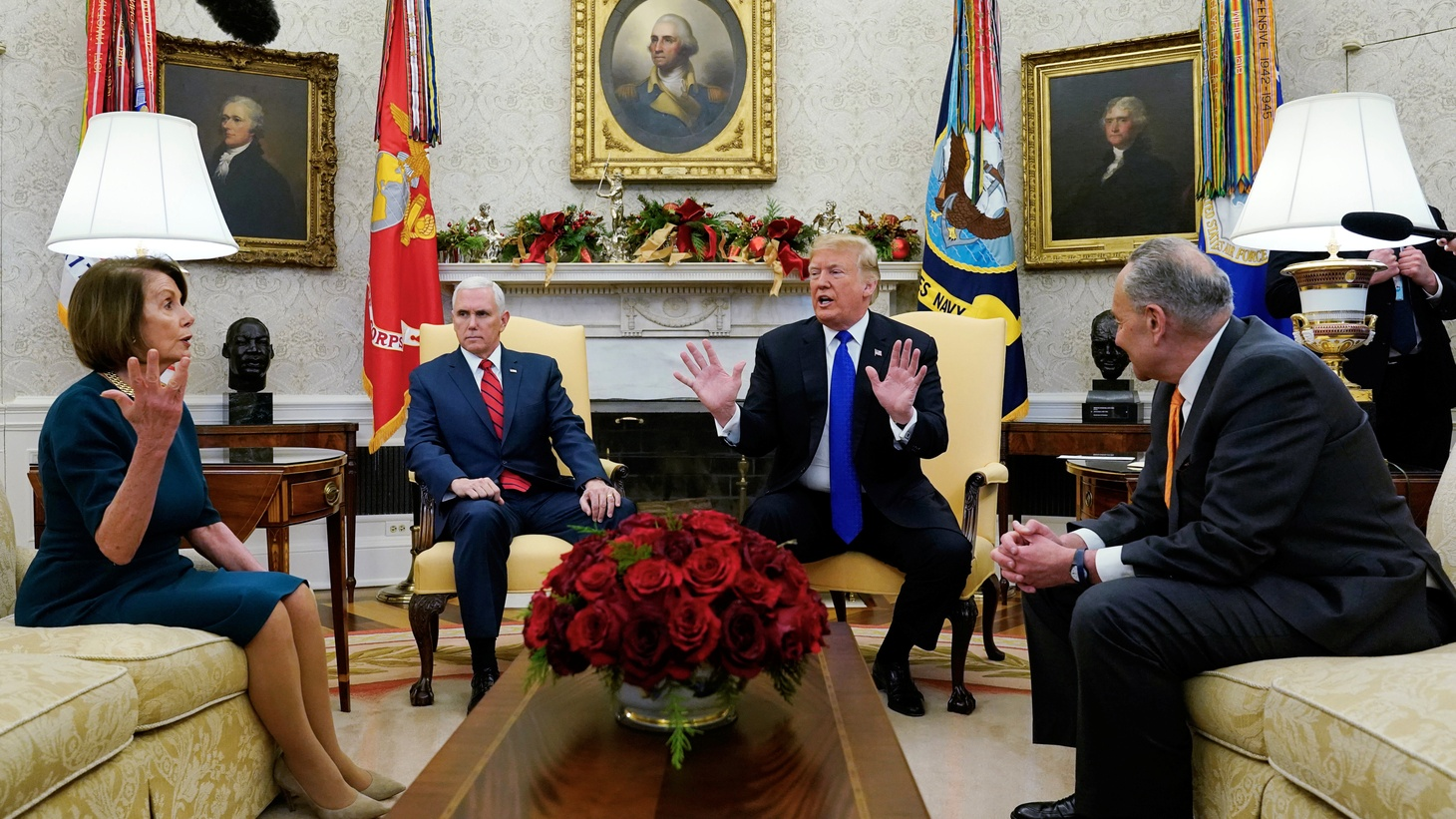 U.S. House Speaker designate Nancy Pelosi (D-CA) speaks with Vice President Mike Pence and U.S. President Donald Trump as they meet with her and Senate Minority Leader Chuck Schumer (D-NY) in the Oval Office at the White House in Washington, U.S., December 11, 2018.
