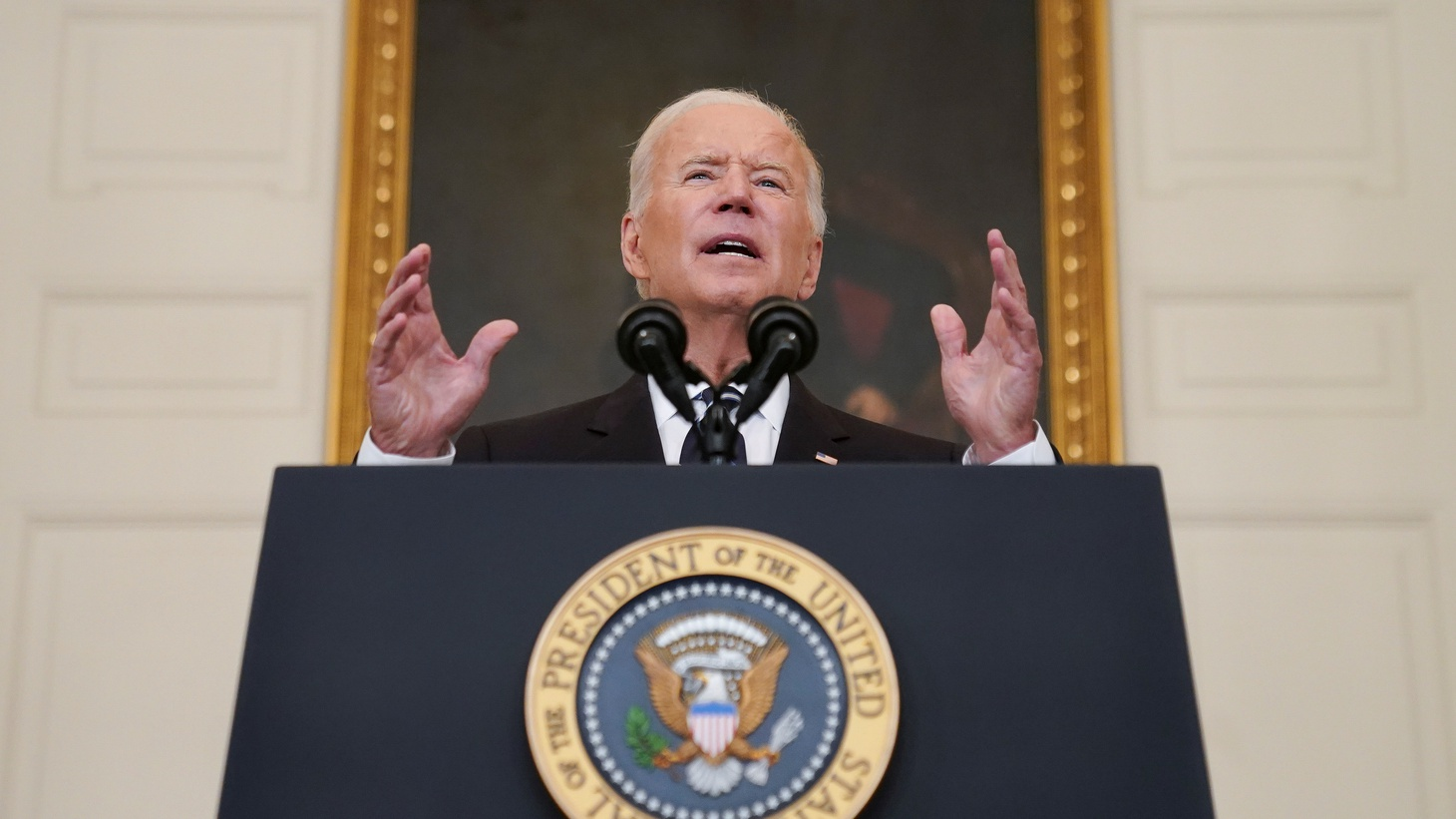 U.S. President Joe Biden delivers remarks on the Delta variant and his administration's efforts to increase vaccinations, from the State Dining Room of the White House in Washington, U.S., September 9, 2021.