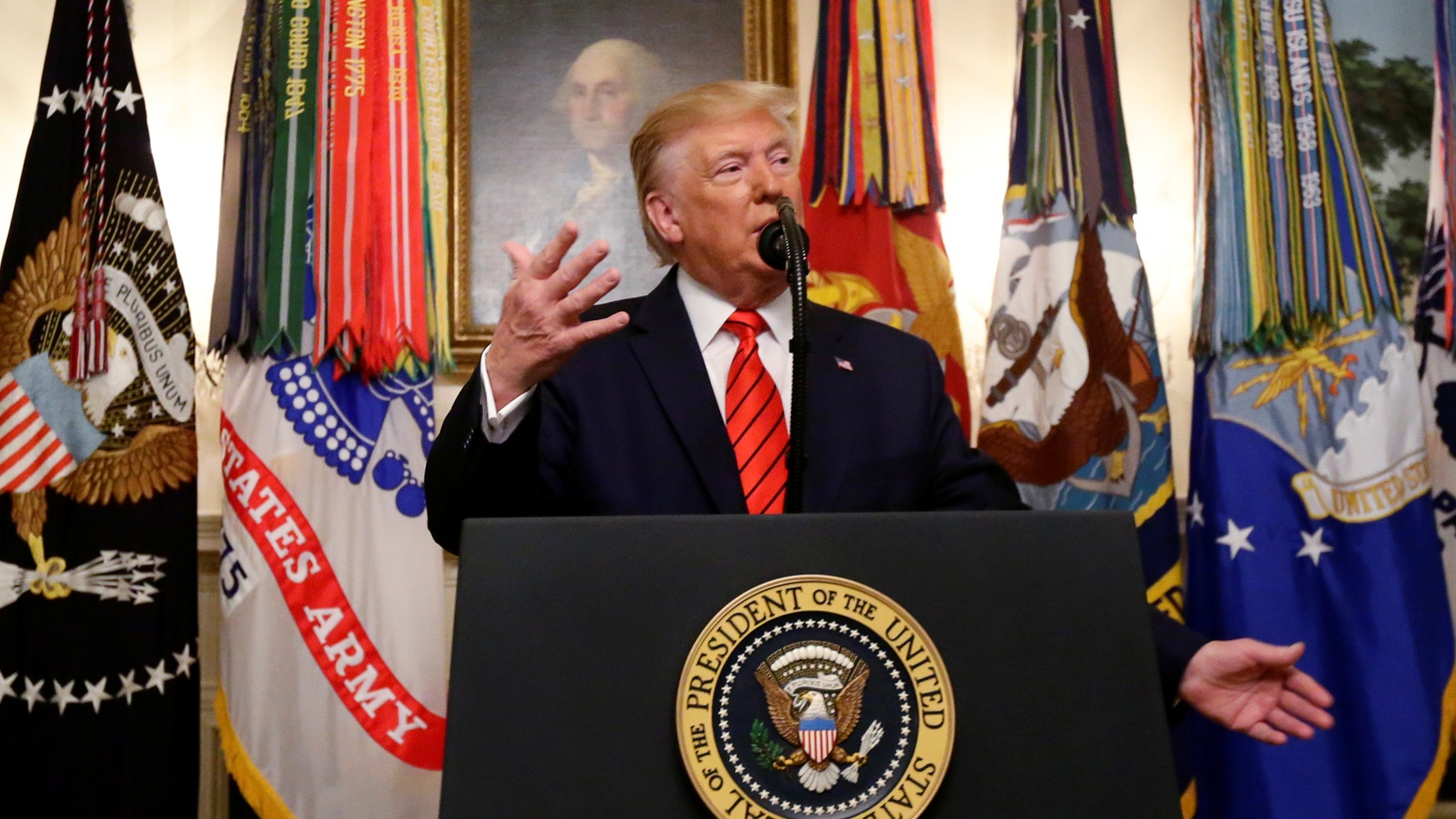 U.S. President Donald Trump makes a statement at the White House following reports that U.S. forces attacked Islamic State leader Abu Bakr al-Baghdadi in northern Syria, in Washington, U.S., October 27, 2019.