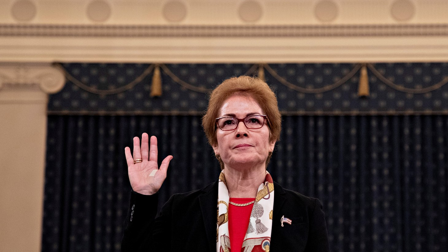 Marie Yovanovitch, former U.S. ambassador to Ukraine, is sworn in to testify before a House Intelligence Committee hearing as part of the impeachment inquiry into U.S. President Donald Trump on Capitol Hill in Washington, U.S., November 15, 2019.