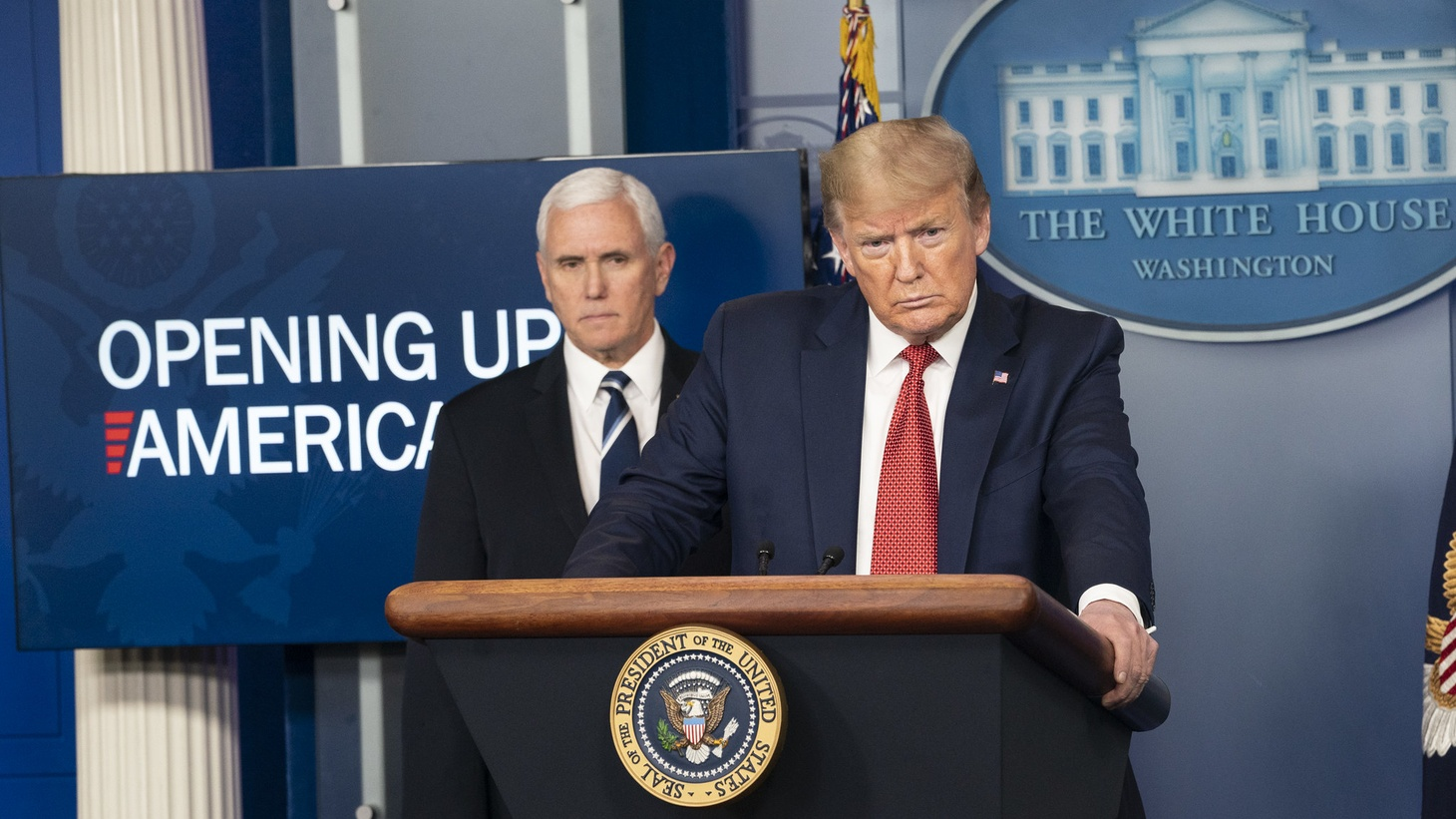 President Donald J. Trump, joined by Vice President Mike Pence and members of the White House COVID-19 Coronavirus task force, delivers remarks and answers questions from members of the press during a coronavirus update briefing Thursday, April 16, 2020, in the James S. Brady White House Press Briefing Room.