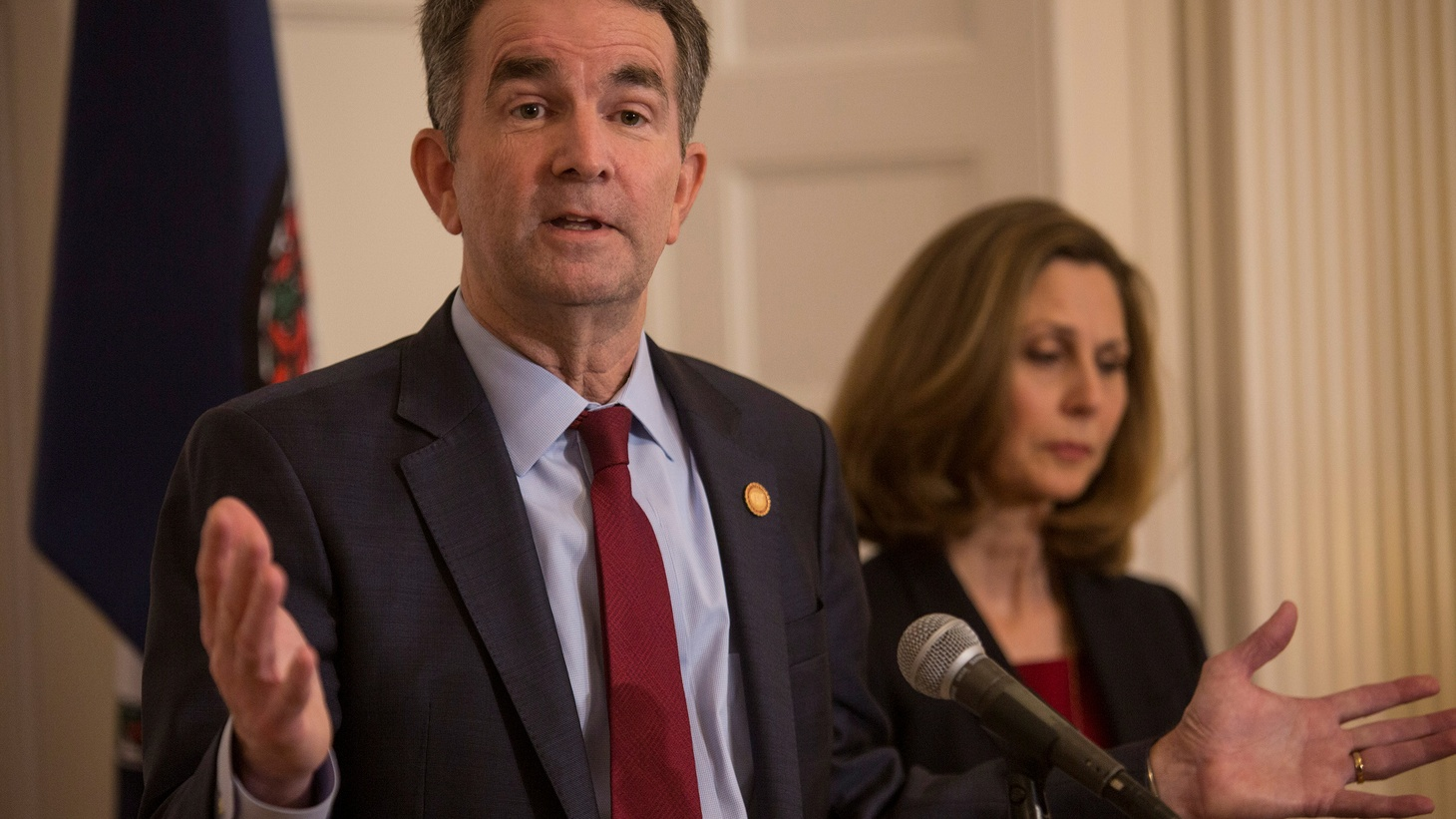 Virginia Governor Ralph Northam, accompanied by his wife Pamela Northam announces he will not resign during a news conference Richmond, Virginia, U.S. February 2, 2019.