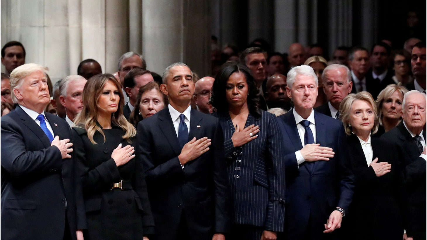 U.S. President Donald Trump, first lady Melania Trump, former President Barack Obama, former first lady Michelle Obama, former President Bill Clinton, former Secretary of State Hillary Clinton, former President Jimmy Carter and former first lady Rosalynn Carter participate in the State Funeral for former President George H.W. Bush, at the National Cathedral, Wednesday, Dec. 5, 2018 in Washington.