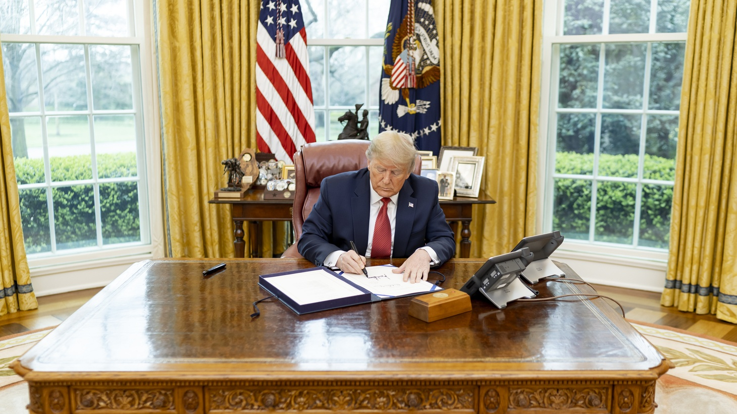 President Donald J. Trump signs H.R. 4334- The Supporting Older Americans Act of 2020. March 25, 2020.